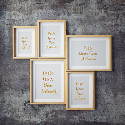 Frame mockups for different sized print examples.