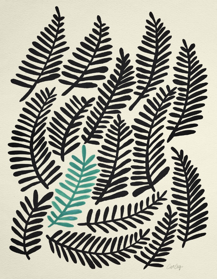 Learn How Artist Cat Coquillette Makes Passive Income With Her Art: Black Fronds by Cat Coquillette