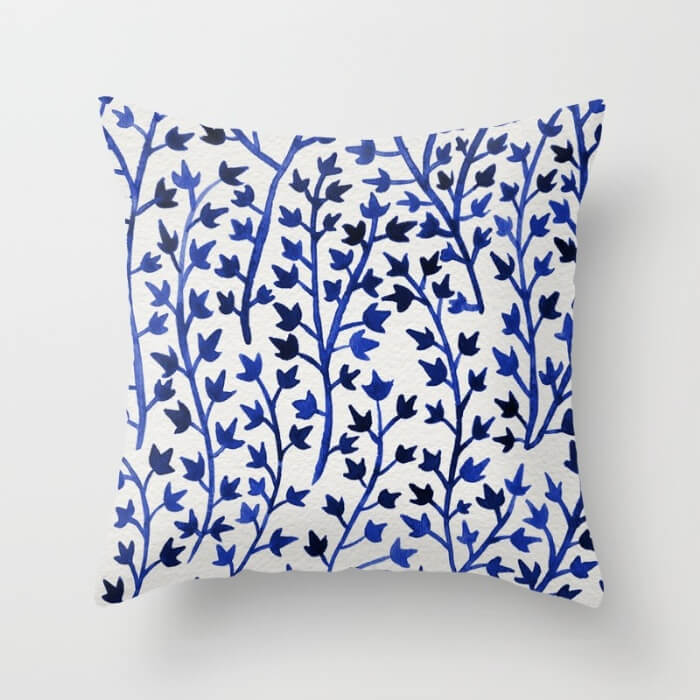Learn How Artist Cat Coquillette Makes Passive Income With Her Art: Porcelain Ivy Pillow by Cat Coquillette