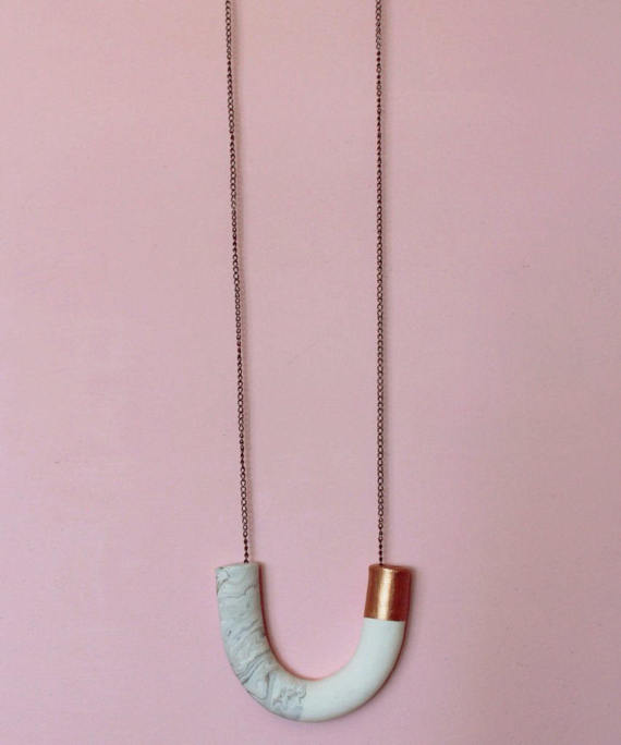 13 Modern DIYs to Try: Metallic and Marble Tube Bead Necklace DIY Kit
