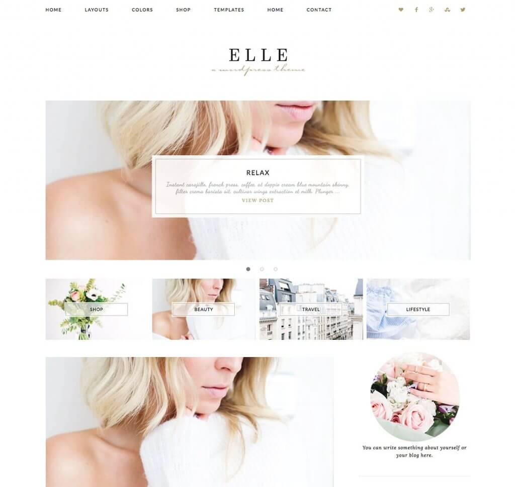 50 Modern, Minimal, Feminine WordPress Blog Themes: Elle