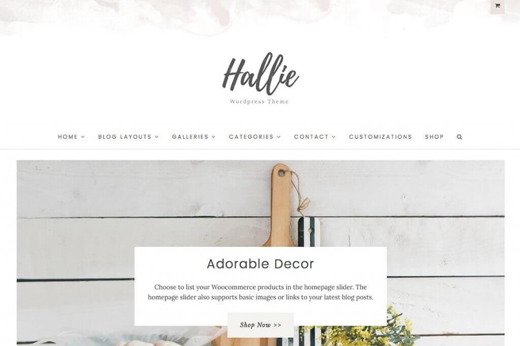 50 Modern, Minimal, Feminine WordPress Blog Themes: Hallie