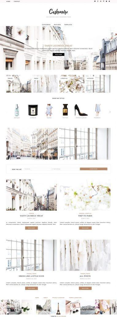 50 Modern, Minimal, Feminine WordPress Blog Themes: Cashmere