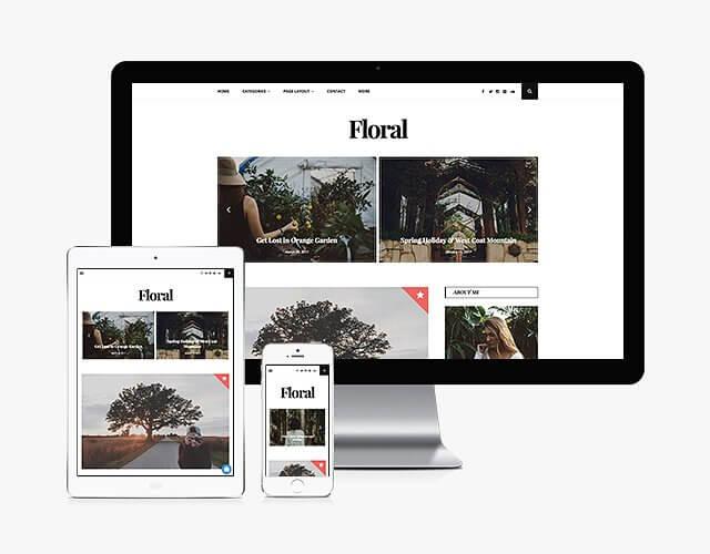 50 Modern, Minimal, Feminine WordPress Blog Themes: Floral