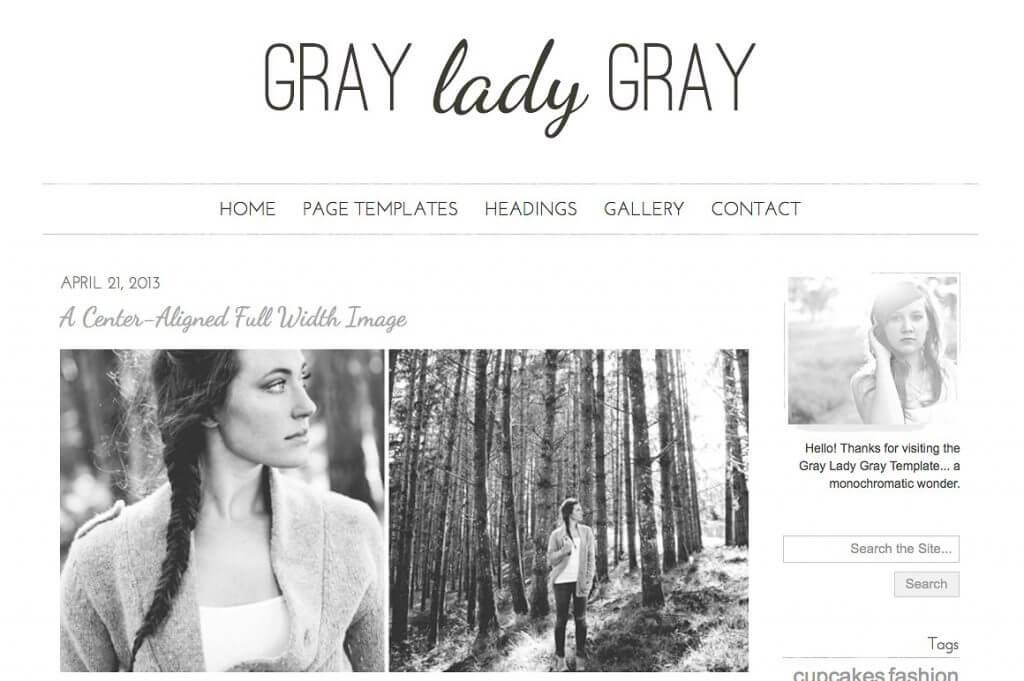 50 Modern, Minimal, Feminine WordPress Blog Themes: Gray Lady Gray