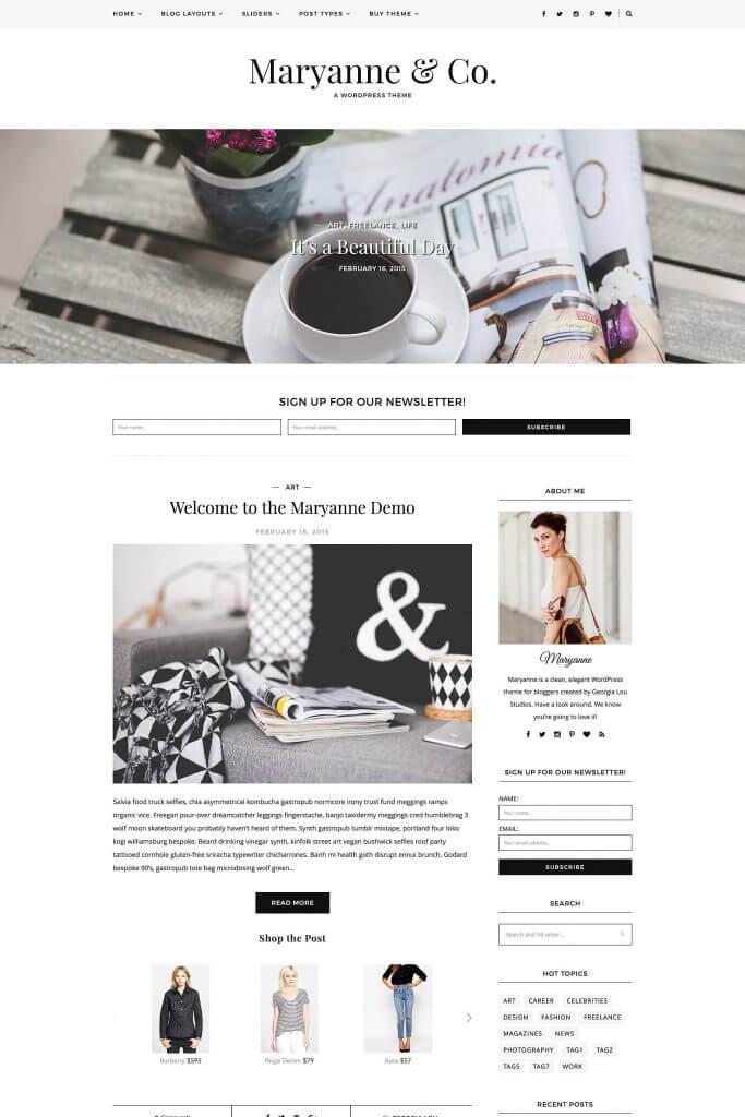 50 Modern, Minimal, Feminine WordPress Blog Themes: MaryAnne