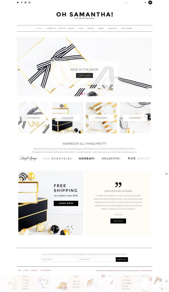 50 Modern, Minimal, Feminine WordPress Blog Themes: Oh Samantha!