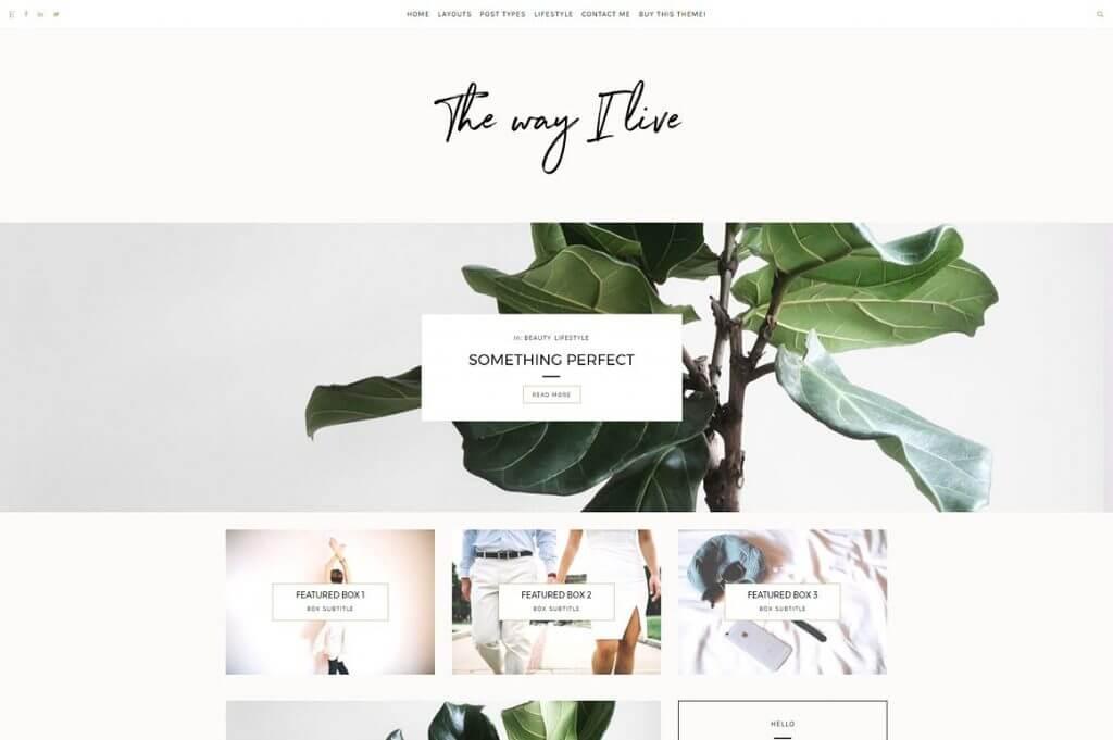 50 Modern, Minimal, Feminine WordPress Blog Themes: The Way I Live
