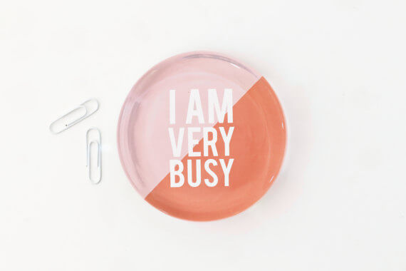 """Get this """"I am very busy"""" paperweight for your favorite boss! And check out this fun gift guide for entrepreneurs on www.CreatingBeautifully.com"""