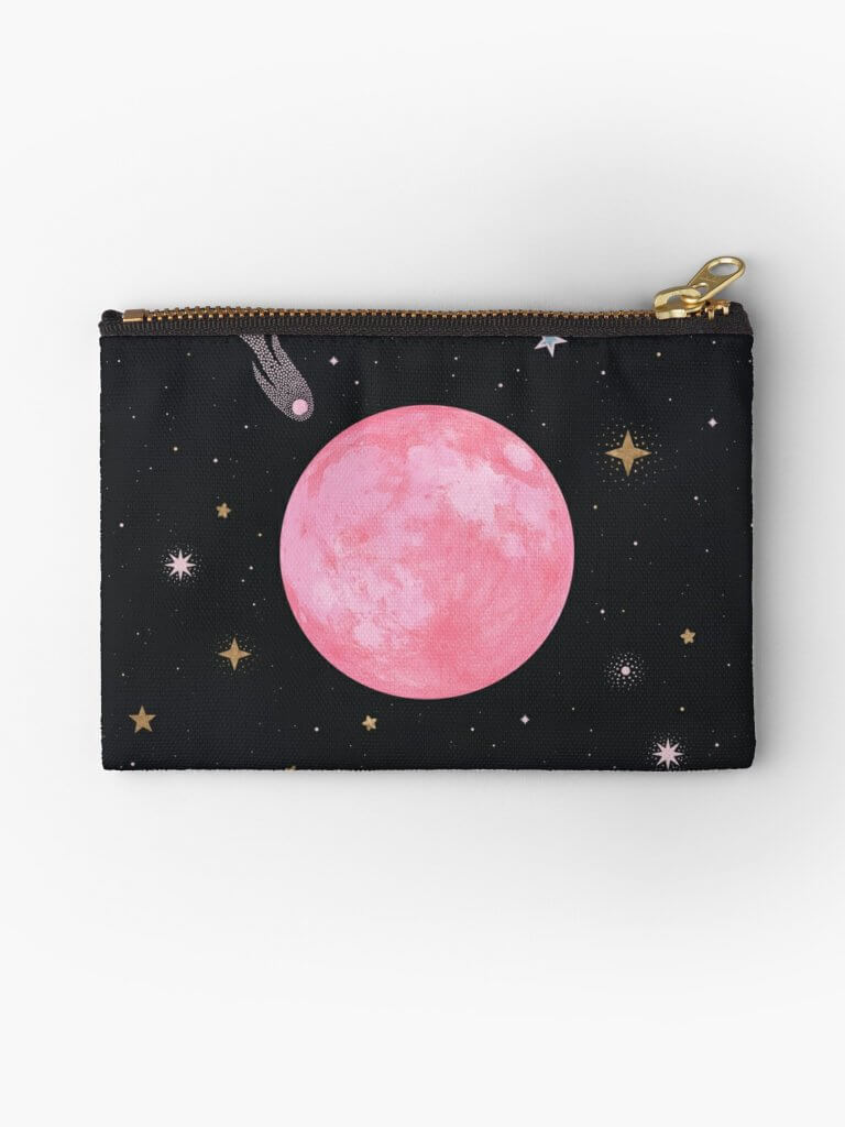 Strawberry Moon pouch by Carly Watts - Artists Making Passive Income on RedBubble: Meet Carly Watts on CreatingBeautifully.com