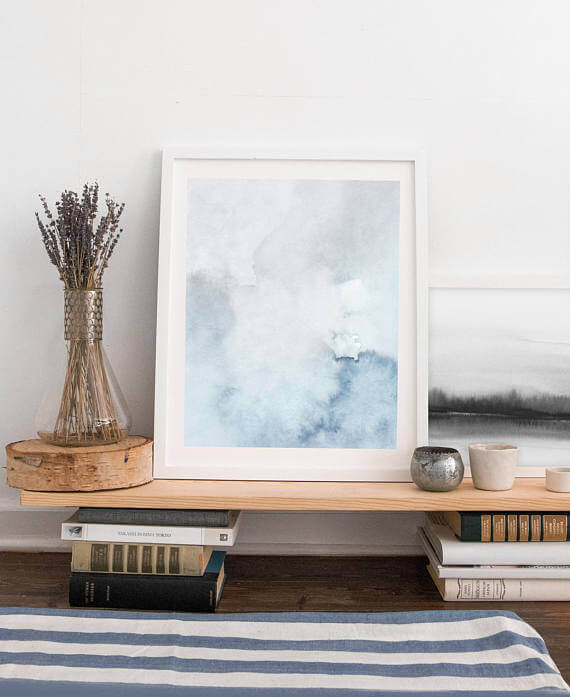 Selling Art Passively Online with Artist Basia Stryjecka: Blue and Gray Printable Watercolor Print from Little Valley Studio