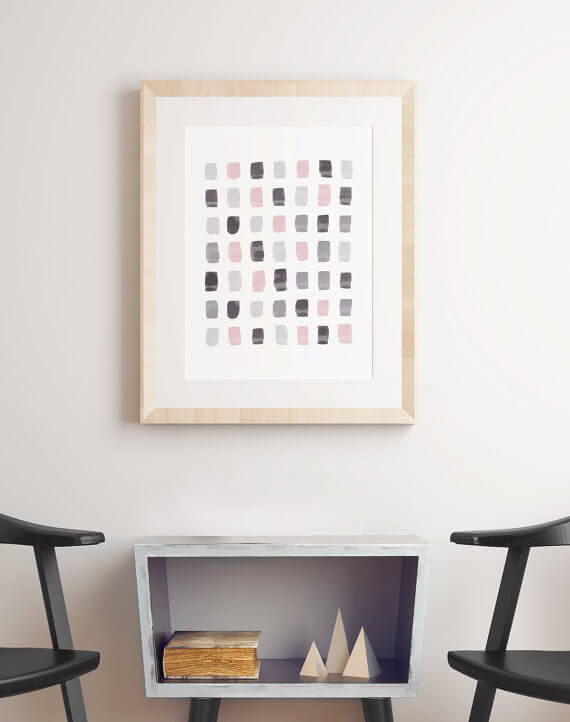 Selling Art Passively Online with Artist Basia Stryjecka: Pink and Grey Abstract Art Watercolor Print from Little Valley Studio