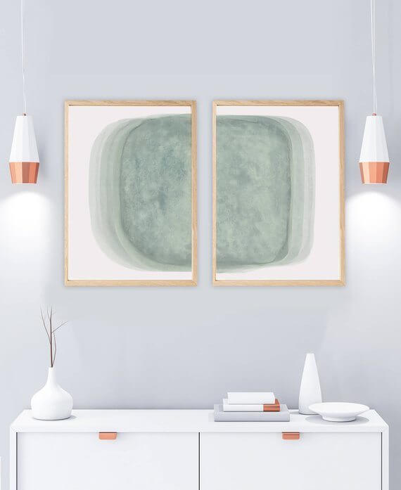 Selling Art Passively Online with Artist Basia Stryjecka:Sage Green Watercolor Set of 2 Prints from Little Valley Studio