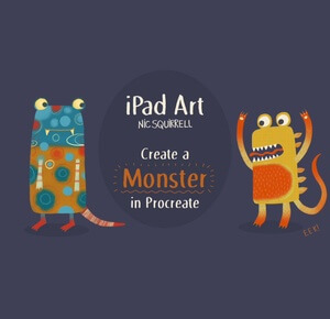 Nic Squirrell's class,iPad Art: Create a Monster - an introduction to Procreate! is just one class in this post that will help you create digital art that sells!