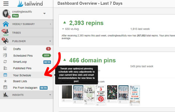 Using Tailwind to Improve Your Pinterest Marketing Strategy: Create your Tailwind schedule