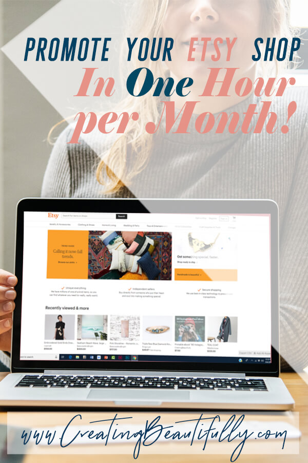 Promote your Etsy Shop in ONE hour per month using Tailwind to improve your Pinterest marketing strategy! #pinteresttips #promoteyourEtsyshop #getmoresalesonEtsy #gettrafficfrompinterest #tailwind #howtousetailwindquickly